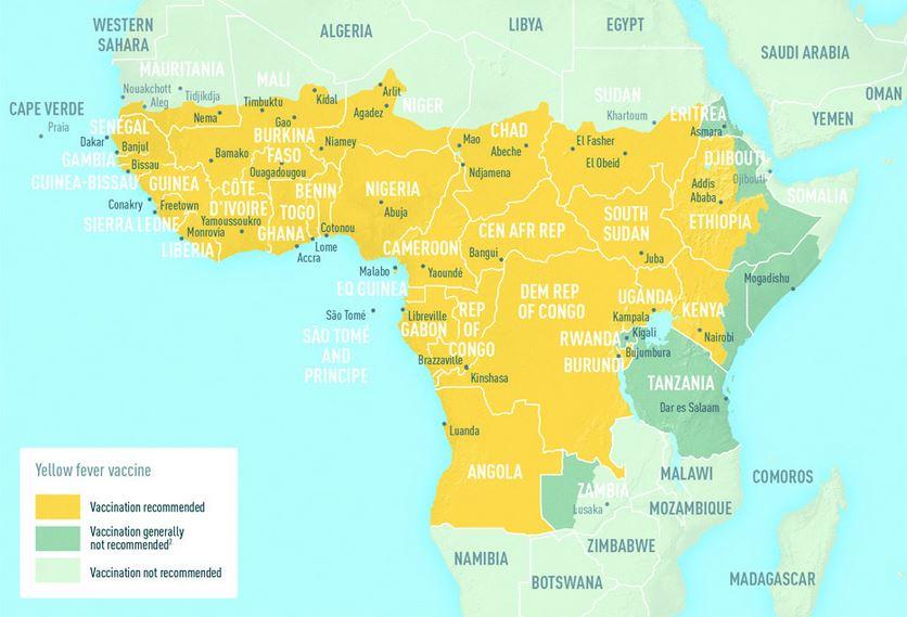 Afrika Karte Staaten.Gelbfieber Tropeninstitut Impfung
