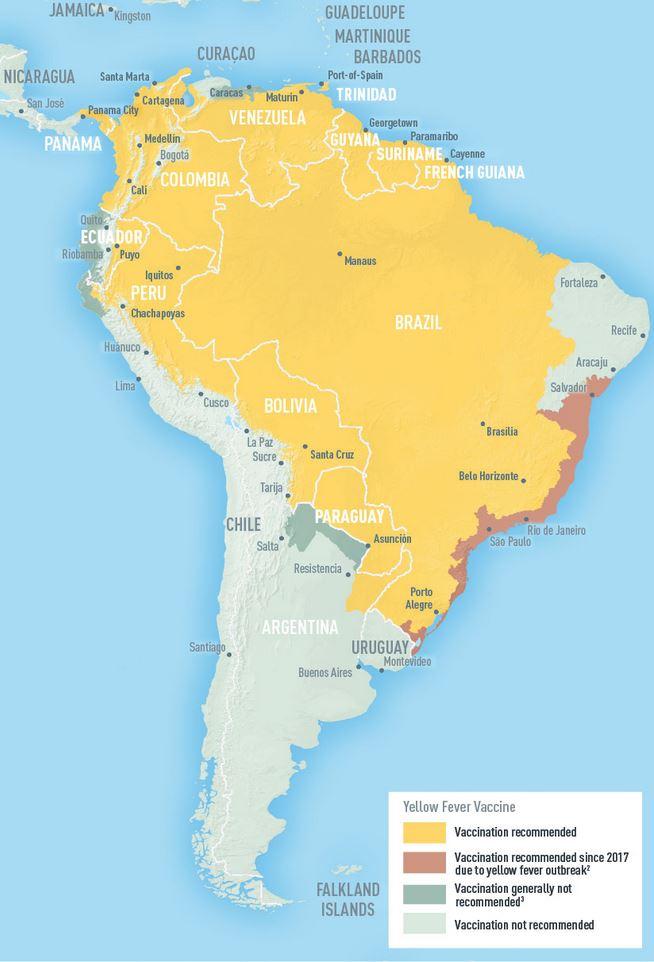 Südamerika Karte Länder.Gelbfieber Tropeninstitut Impfung